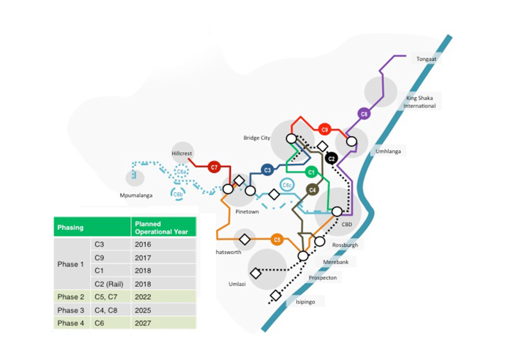 This map highlights the nine different corridors under development for Durban's new transport system.